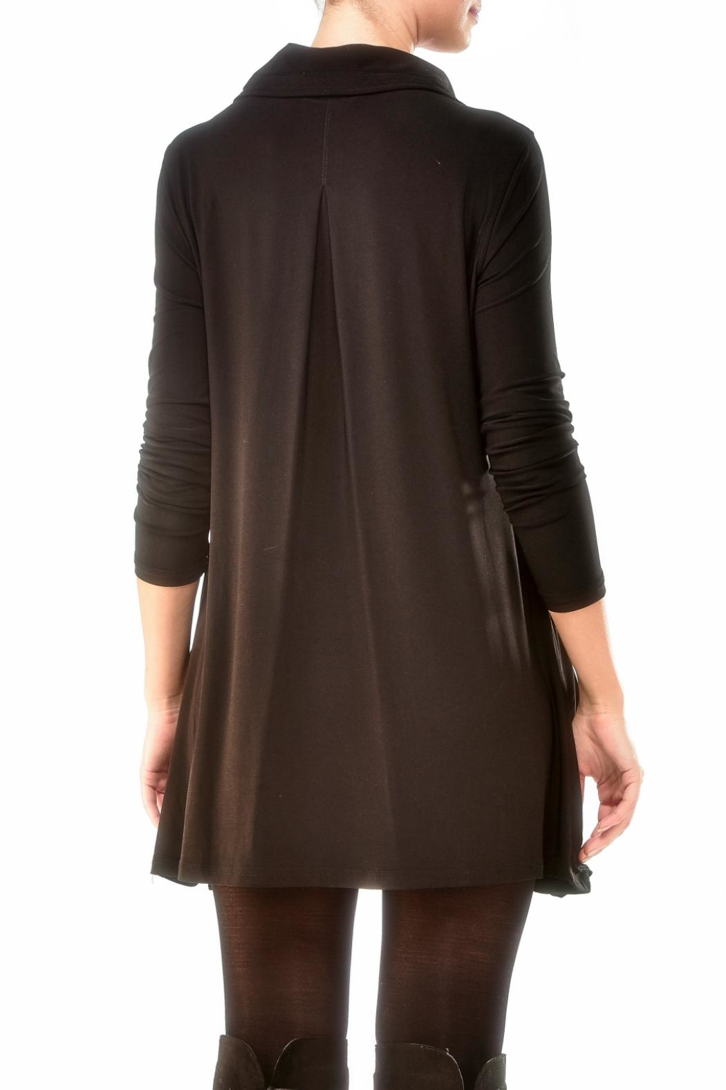 Charlie Paige Zippered Knit Tunic Top - Front Full Image