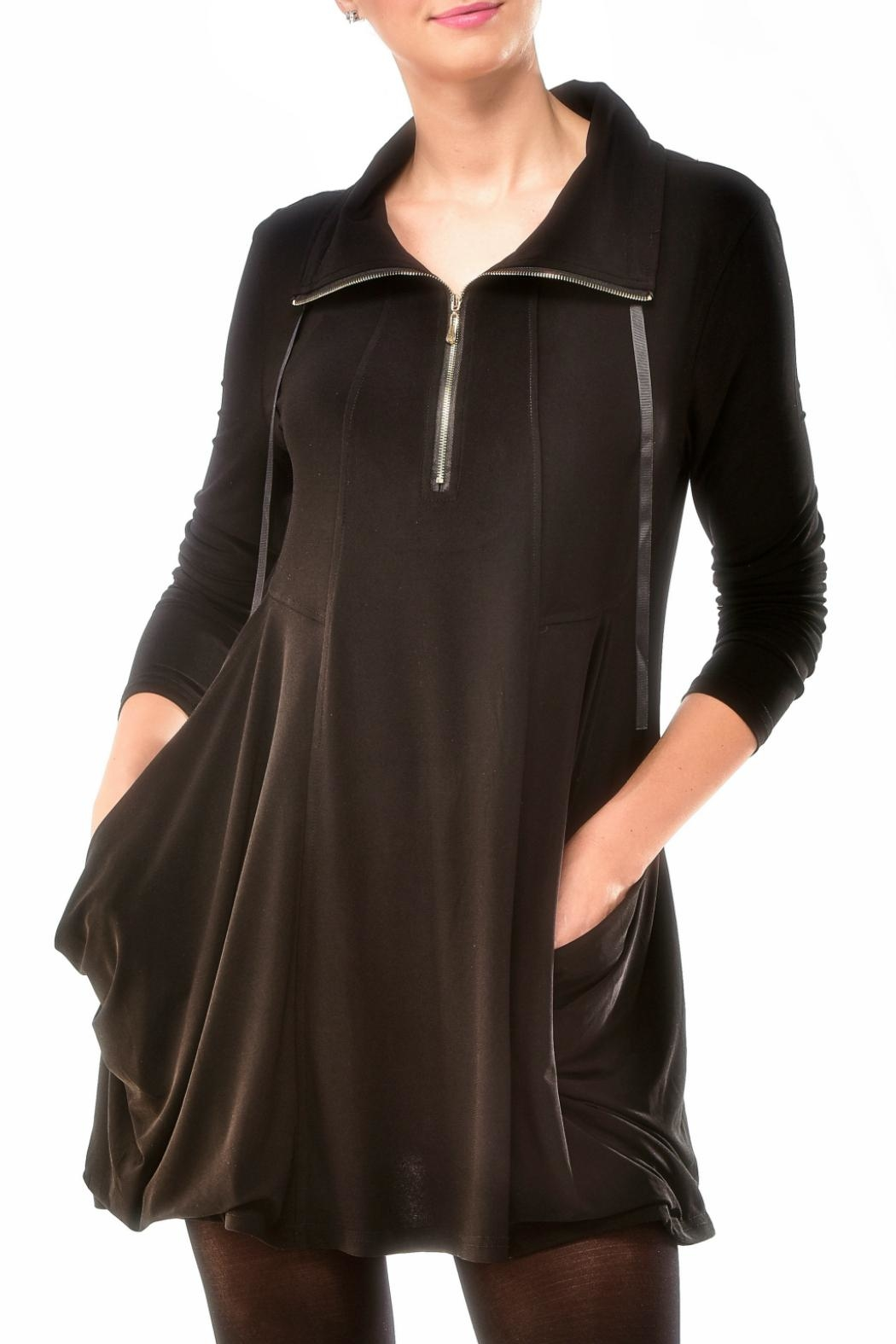 Charlie Paige Zippered Knit Tunic Top - Front Cropped Image