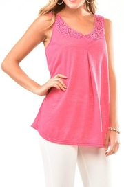 Charlie Paige Lace Neckline Top - Front cropped