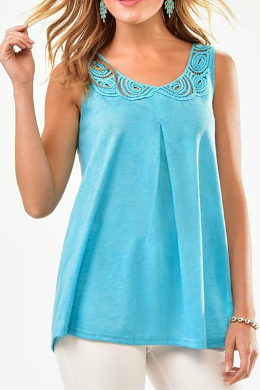 Charlie Paige Lace Neckline Top - Front Cropped Image