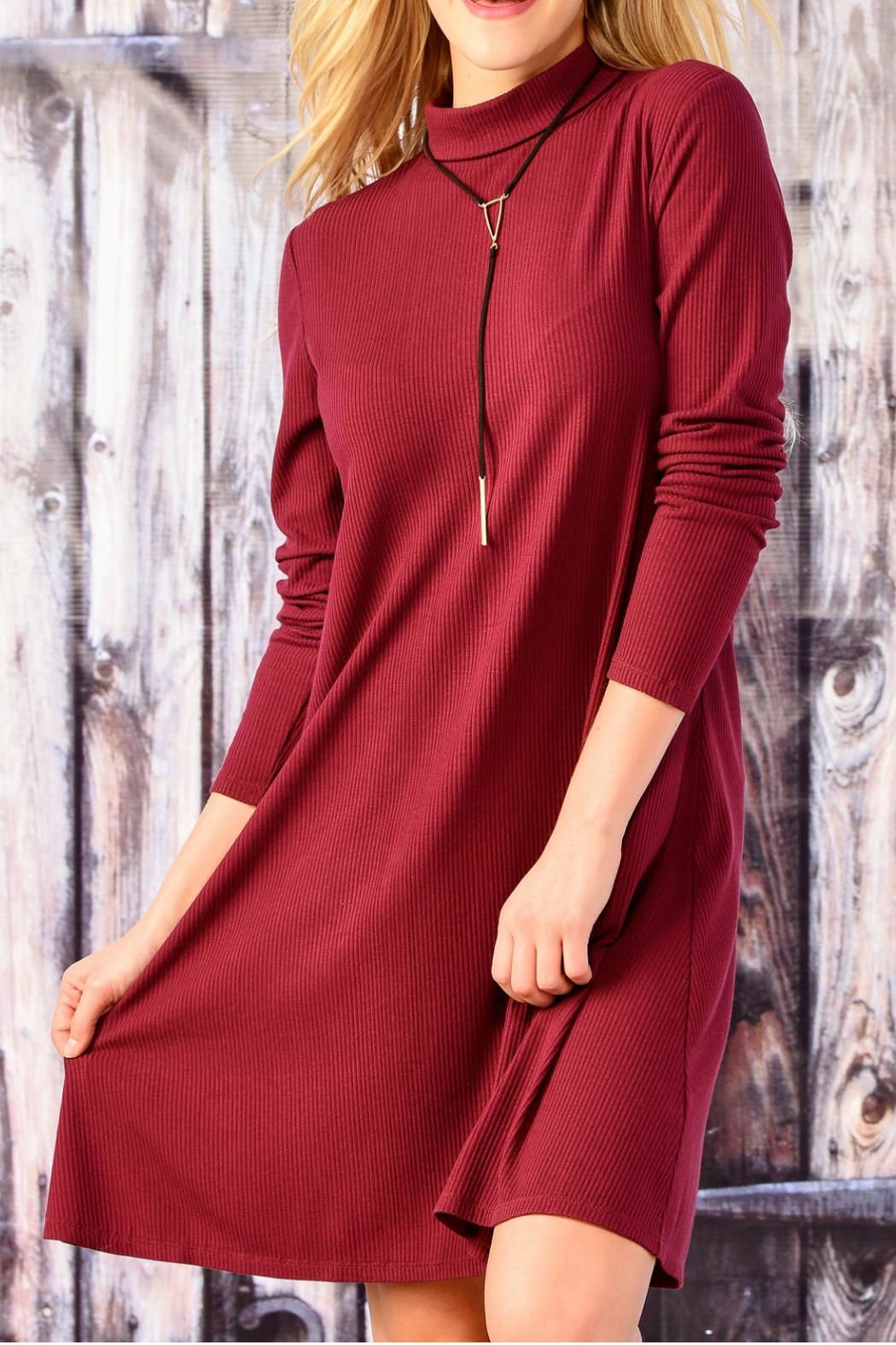 Charlie Paige Long Sleeve A Line Dress - Front Cropped Image