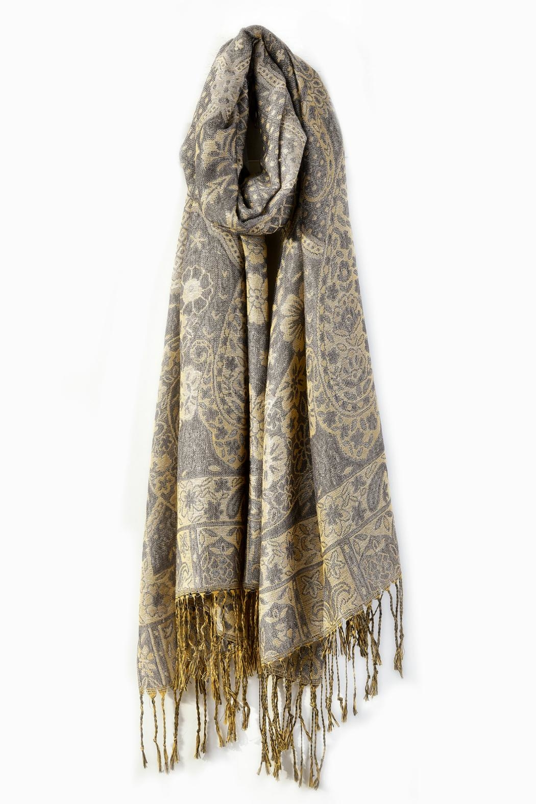 Charlie Paige Lurex Paisley Scarf - Main Image