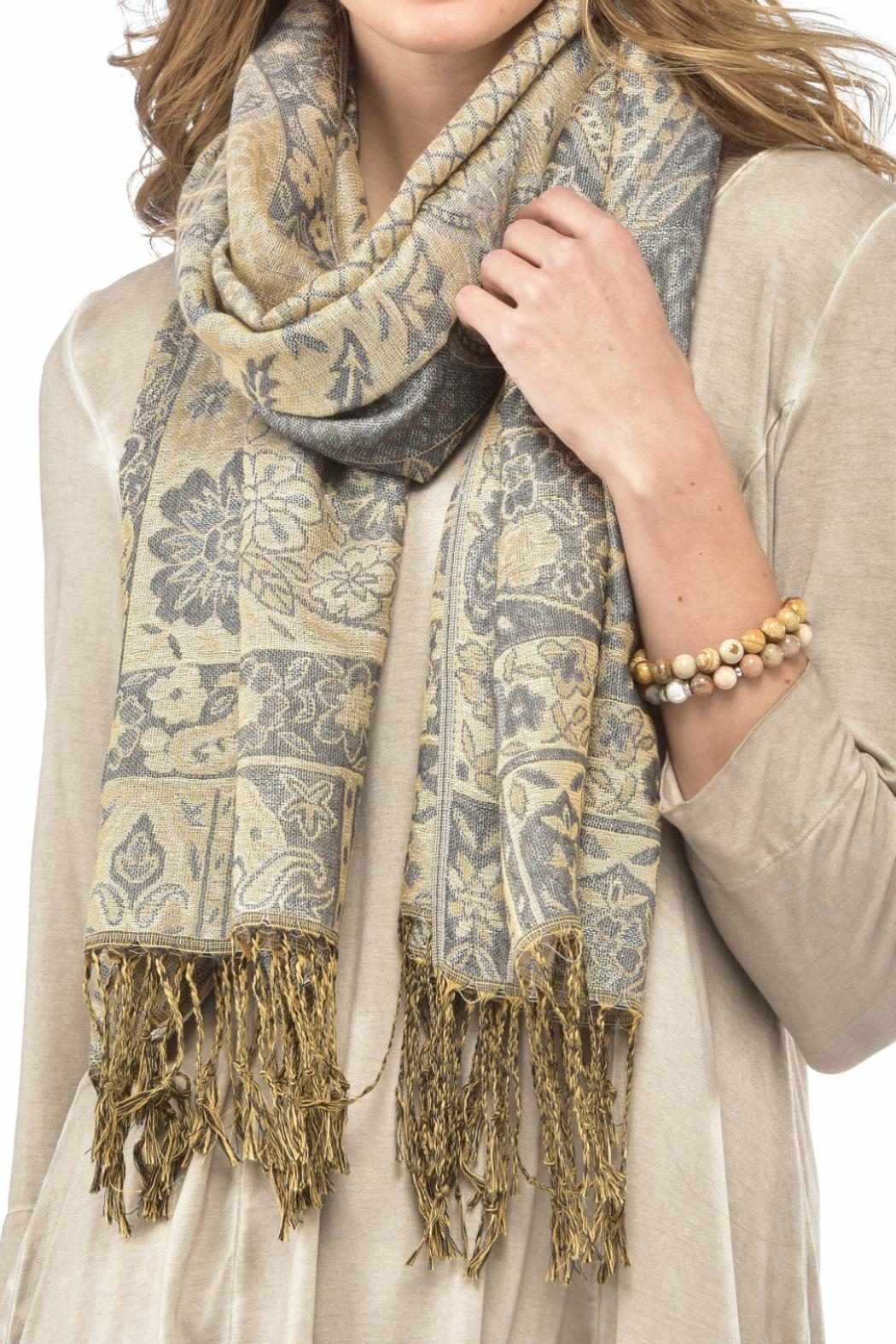 Charlie Paige Lurex Paisley Scarf - Front Full Image