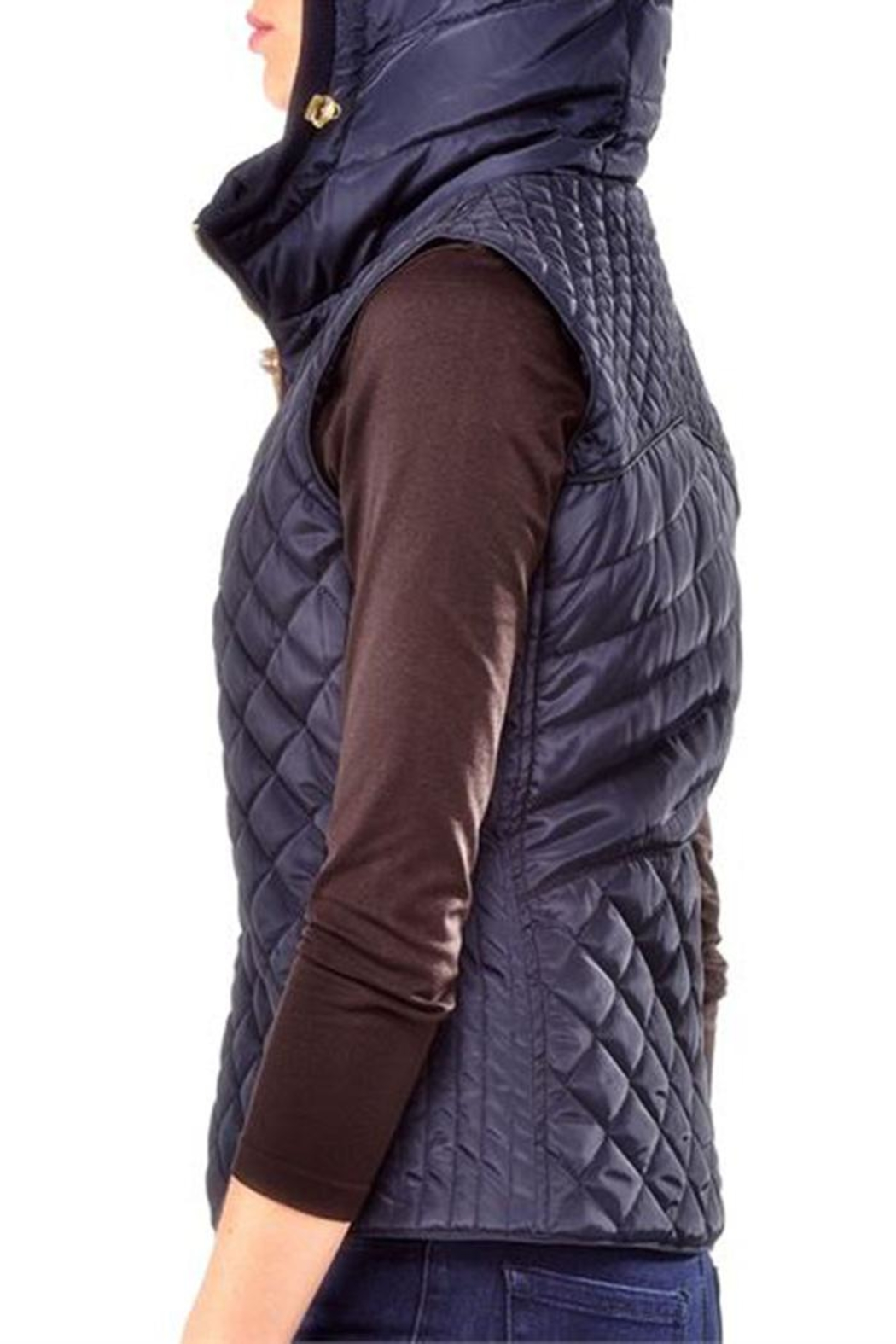 Charlie Paige Quilted Blue Vest - Front Full Image