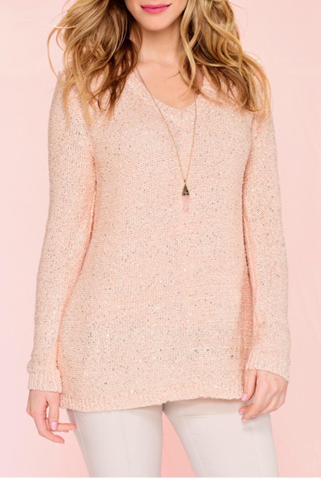 Charlie Paige Sequinned Knit Sweater - Back Cropped Image