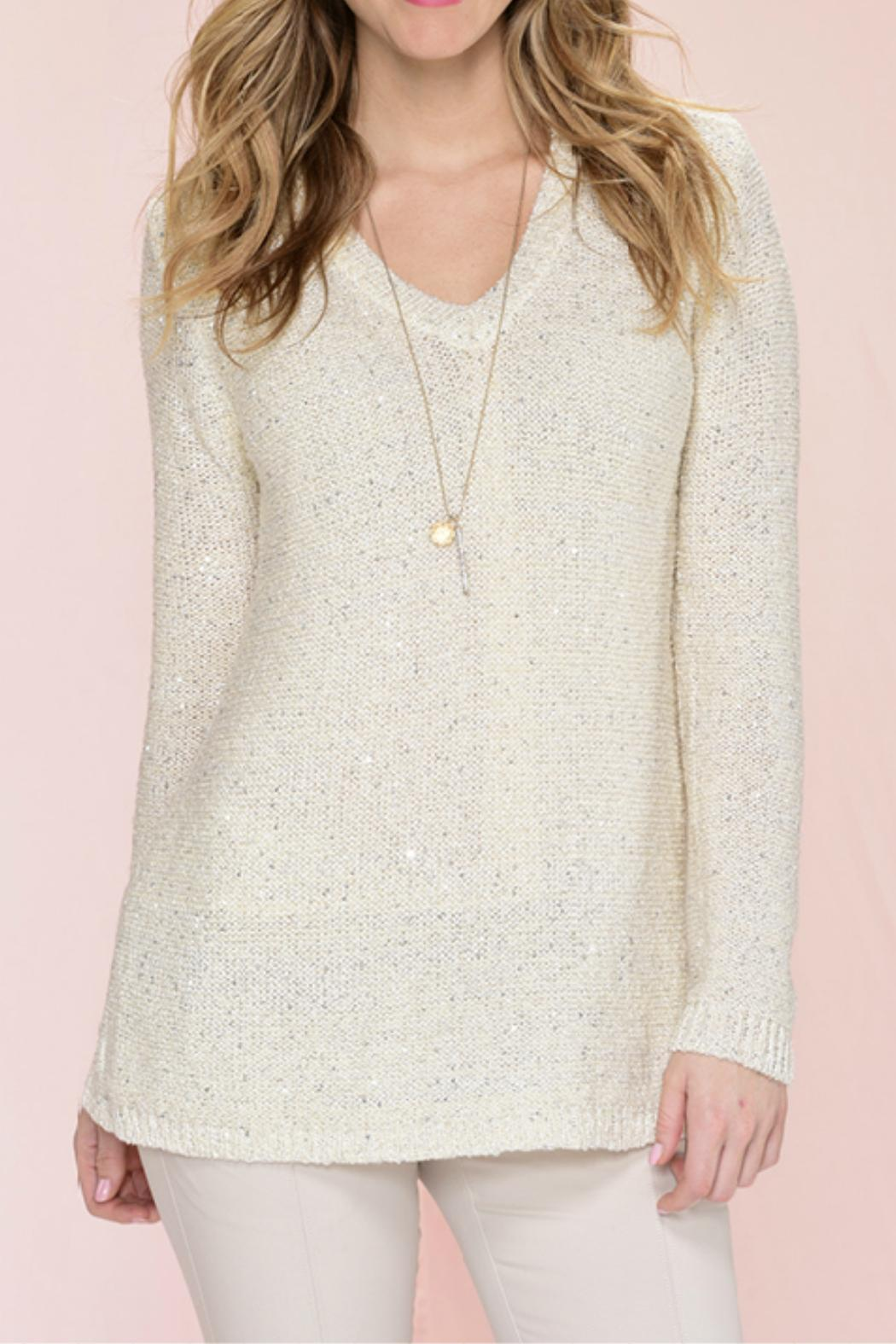 Charlie Paige Sequinned Knit Sweater - Front Full Image