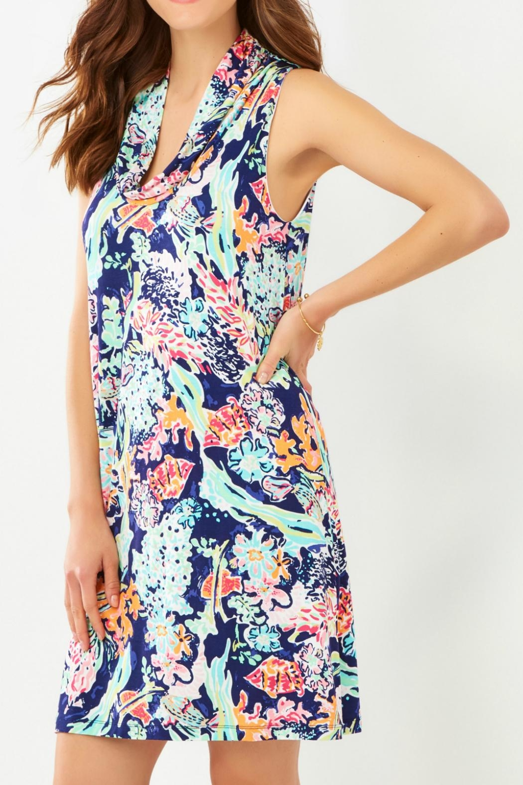 Charlie Paige Tropical Cowl-Neck Dress - Front Full Image