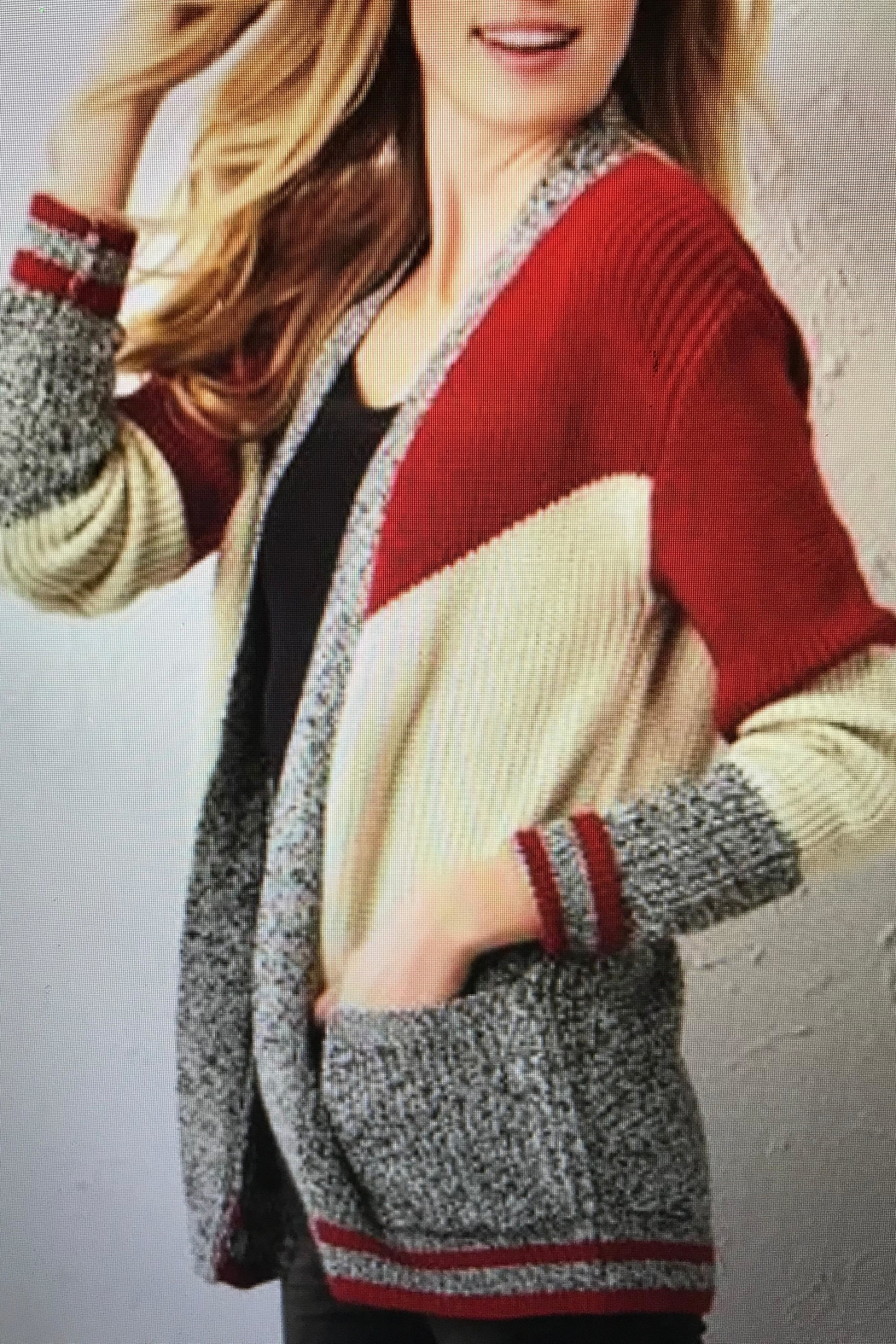 Charlie Paige Varsity Cardigan Sweater - Front Cropped Image