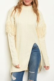 Charme U Cream Tassel Sweater - Product Mini Image