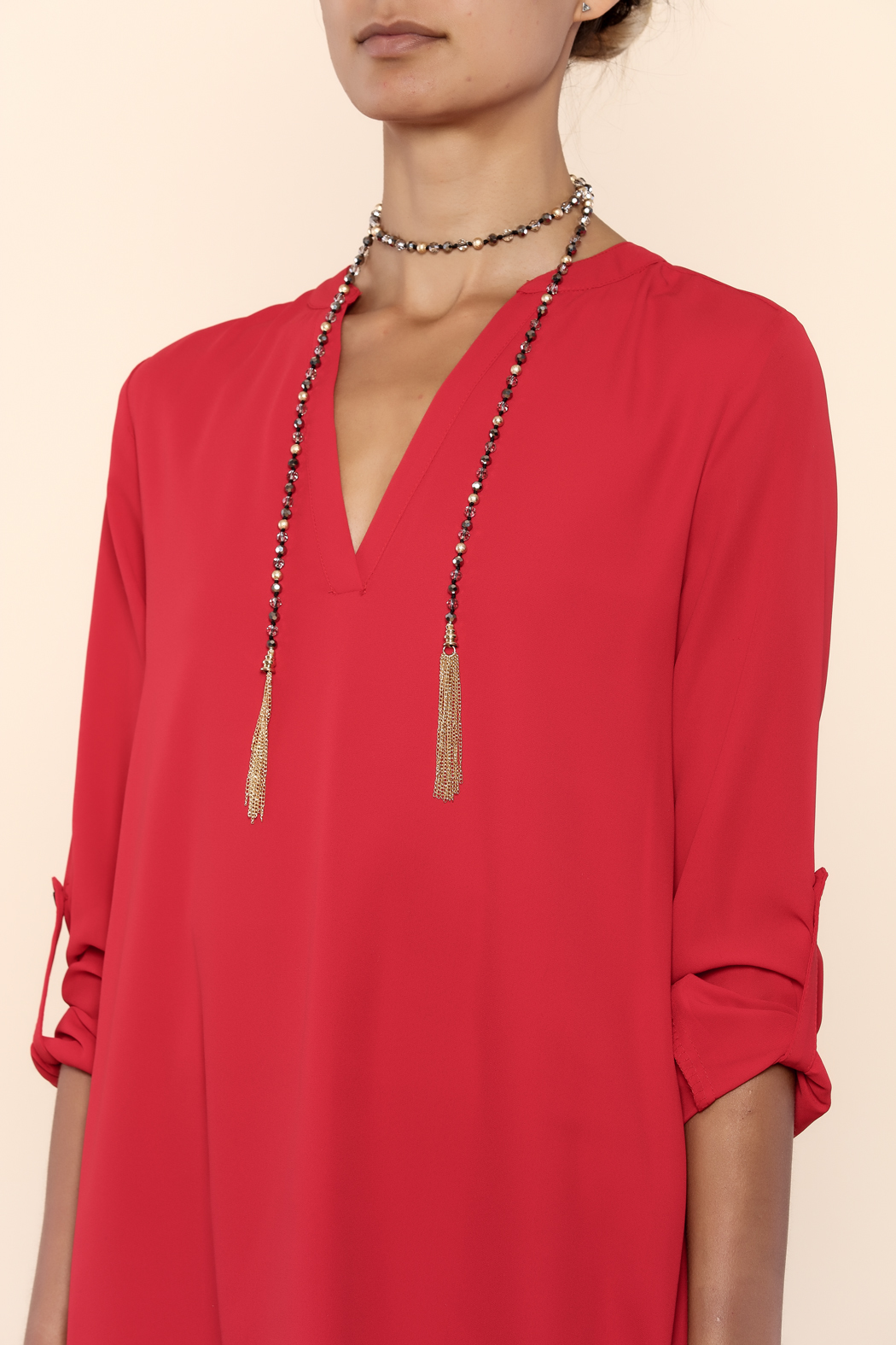 Charmed by JLM Crystal Bead Tassel Neck - Back Cropped Image