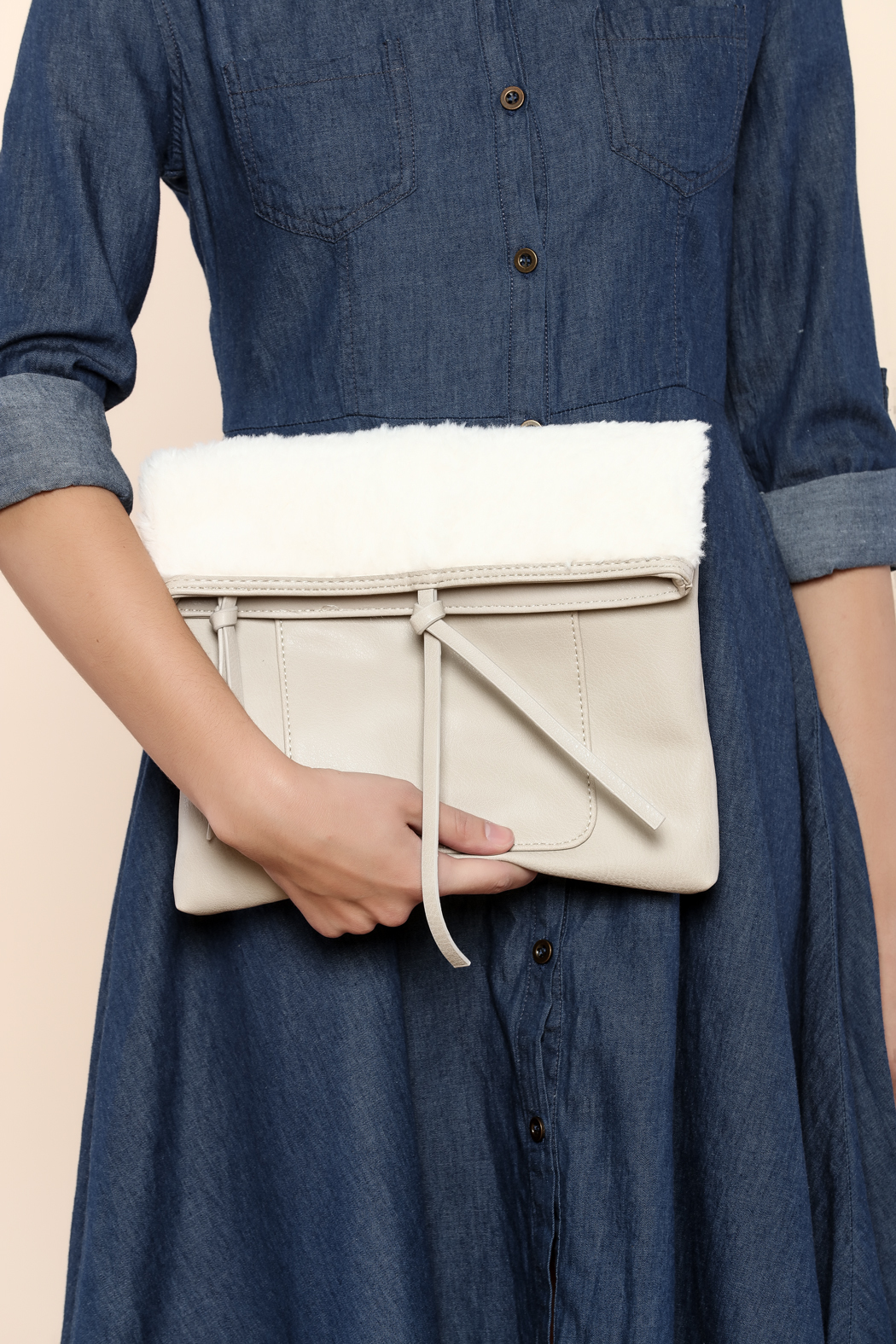 Charmed by JLM Faux Leather Clutch - Front Full Image