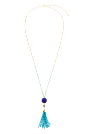 Charmed by JLM Turquoise Tassel Necklace - Front cropped