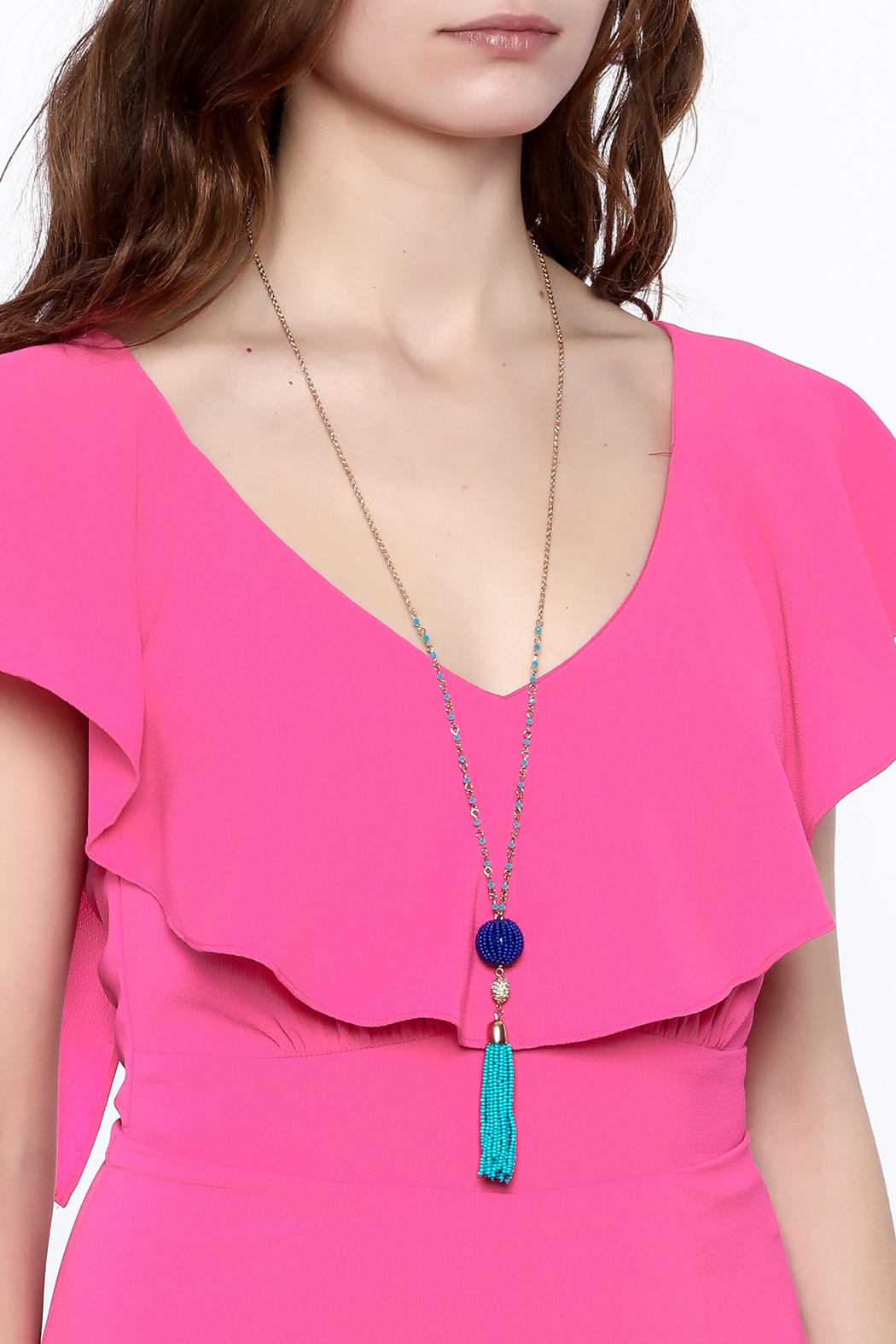 Charmed by JLM Turquoise Tassel Necklace - Back Cropped Image