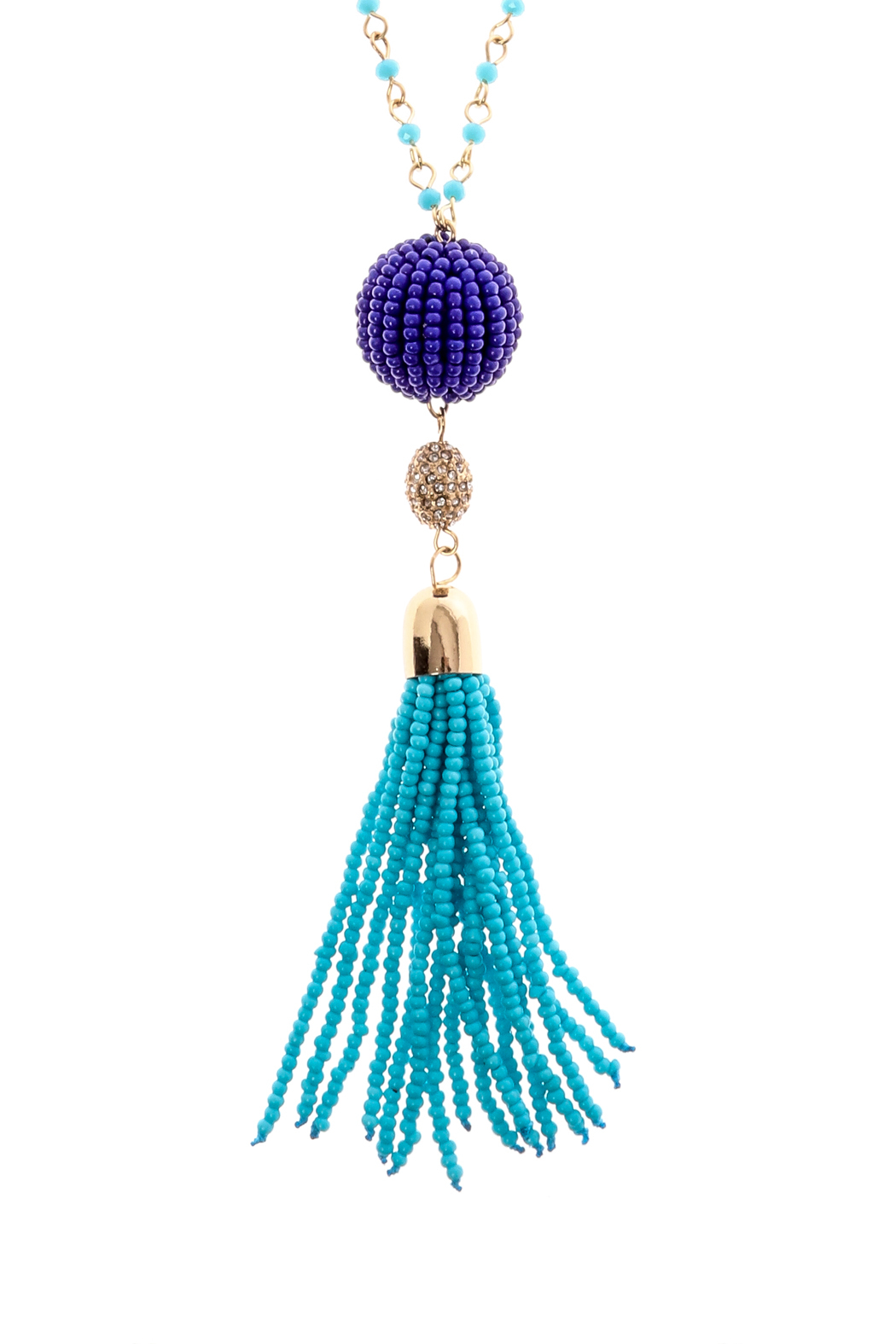 Charmed by JLM Turquoise Tassel Necklace - Front Full Image