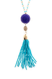 Charmed by JLM Turquoise Tassel Necklace - Front full body
