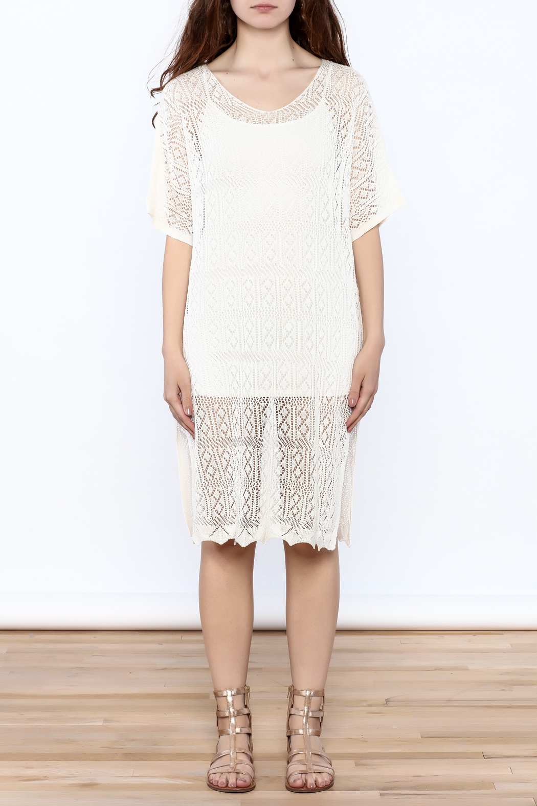 Charmed by JLM Ivory Crochet Cover Up - Front Cropped Image
