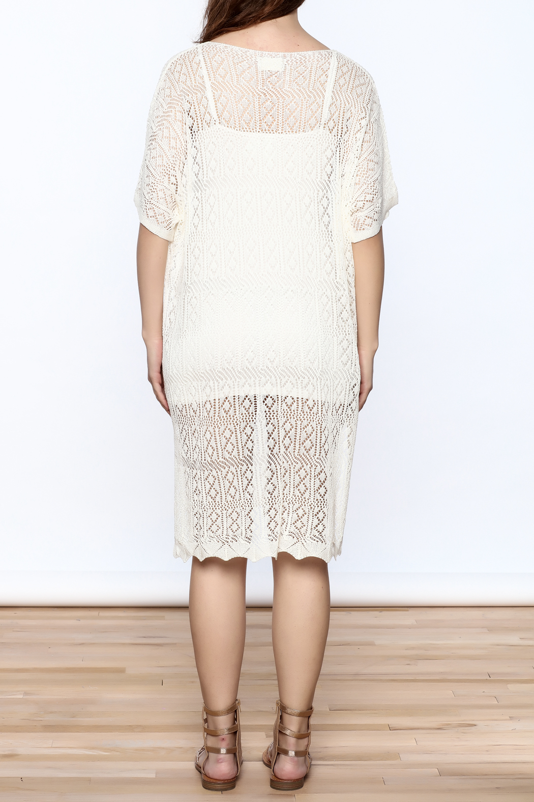 Charmed by JLM Ivory Crochet Cover Up - Back Cropped Image