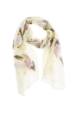 Shoptiques Product: White Leaf Print Scarf