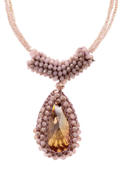 Charmed by JLM Pink Crystal Necklace - Front full body
