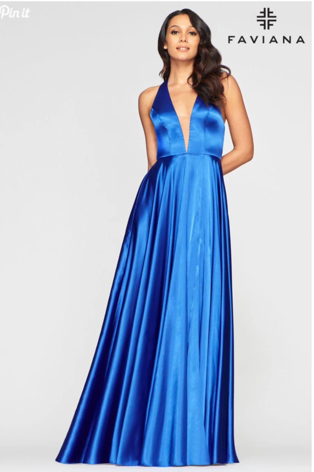 Faviana Charmeusse Halter Gown - Side Cropped Image