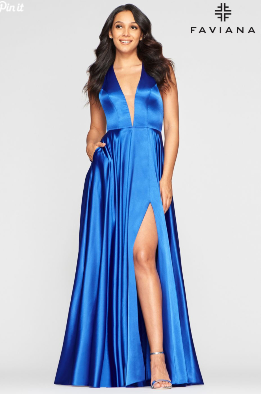 Faviana Charmeusse Halter Gown - Front Cropped Image