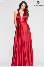 Faviana Charmeusse Halter Gown - Front cropped