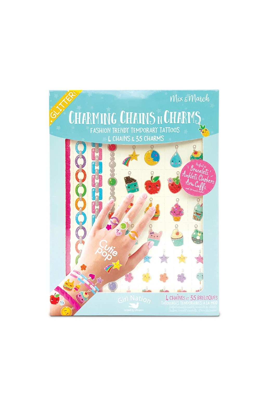 Girl Nation  Charming Chains N Charms Temporary Tattoos - Main Image