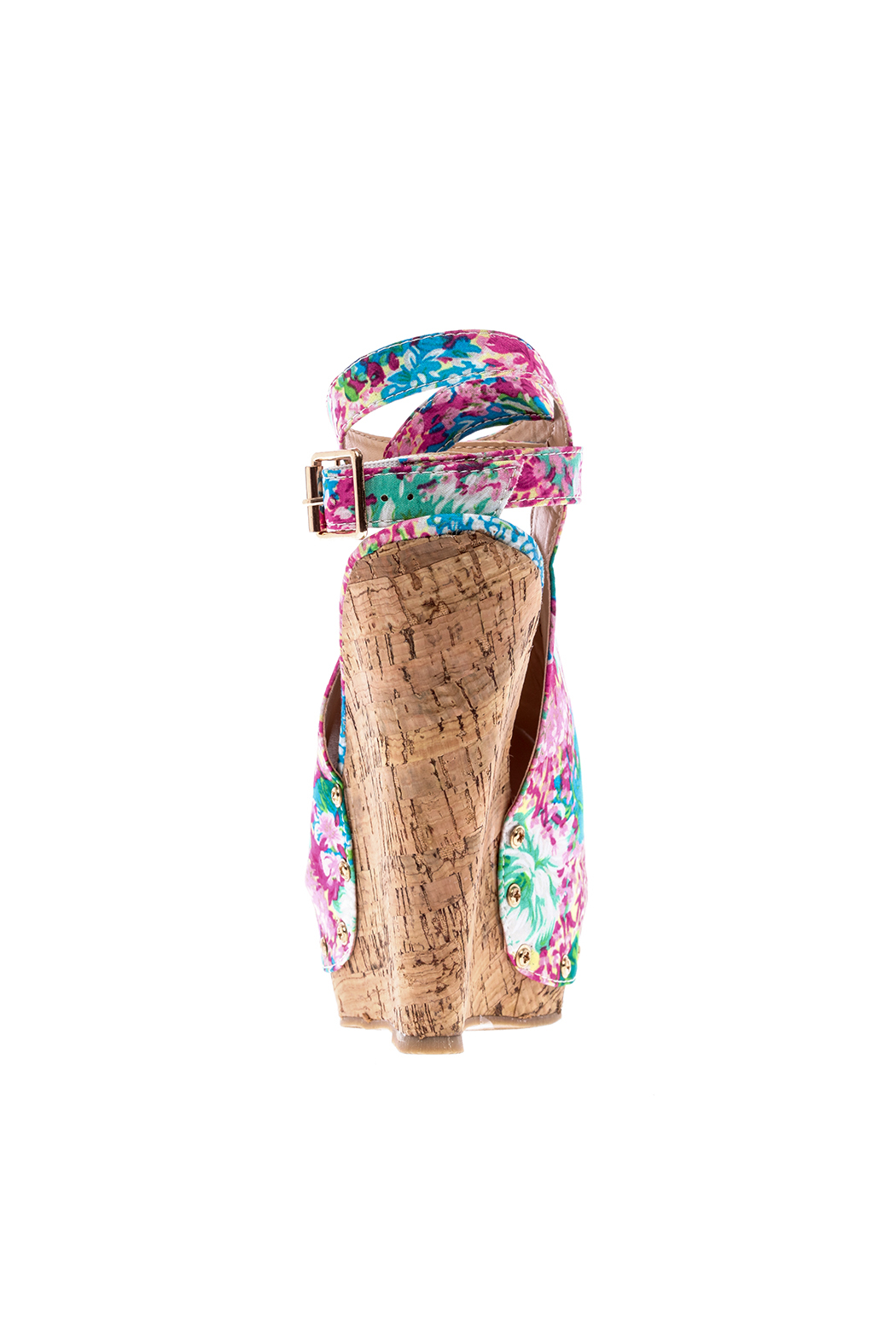 Chase & Chloe Floral Print Wedge - Front Full Image