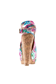 Chase & Chloe Floral Print Wedge - Front full body