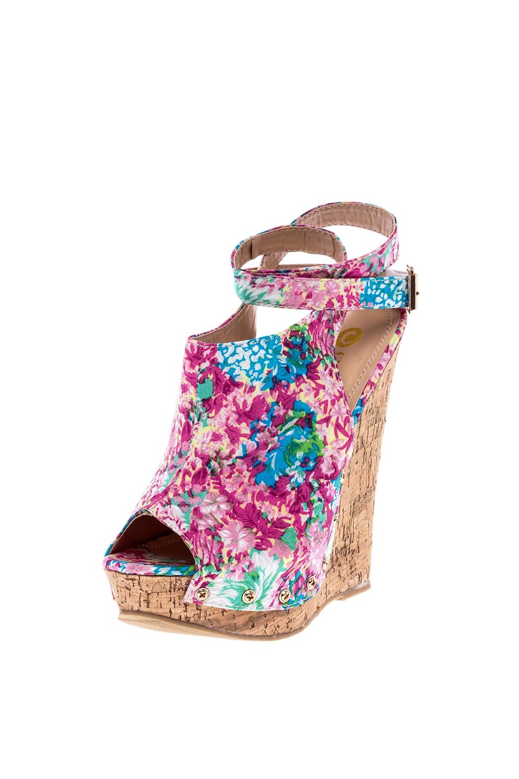 Chase & Chloe Floral Print Wedge - Back Cropped Image