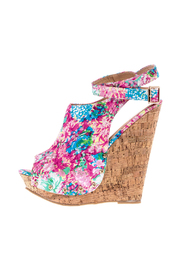 Chase & Chloe Floral Print Wedge - Product Mini Image