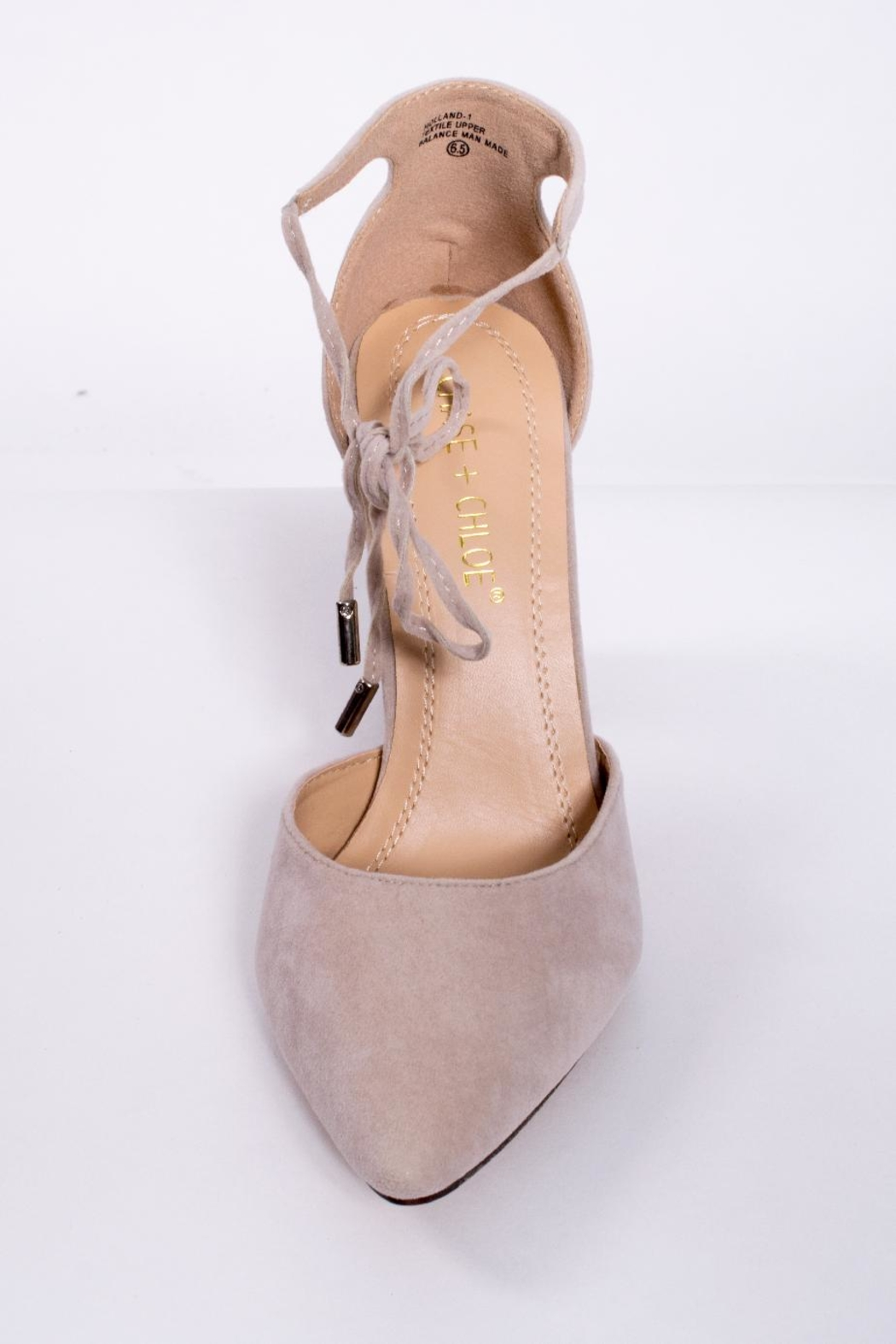 Chase & Chloe Ankle Tie Pump - Side Cropped Image