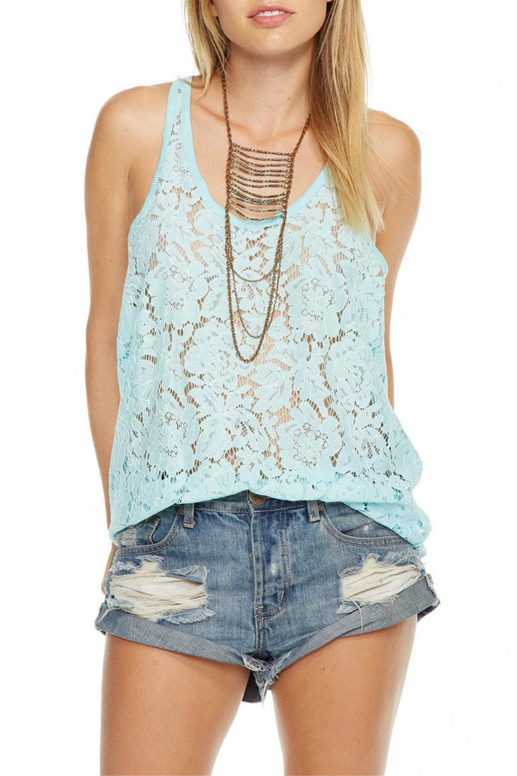 Chaser Aqua Lace Tank Top - Front Cropped Image