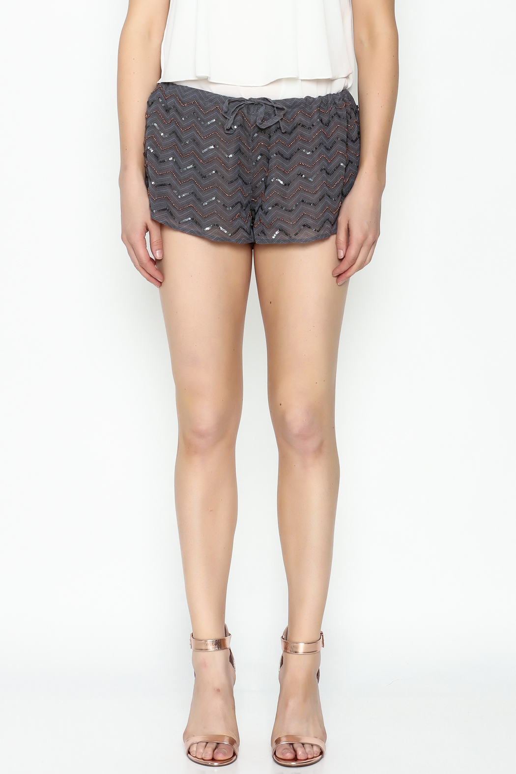 Chaser Beaded Shorts - Front Full Image