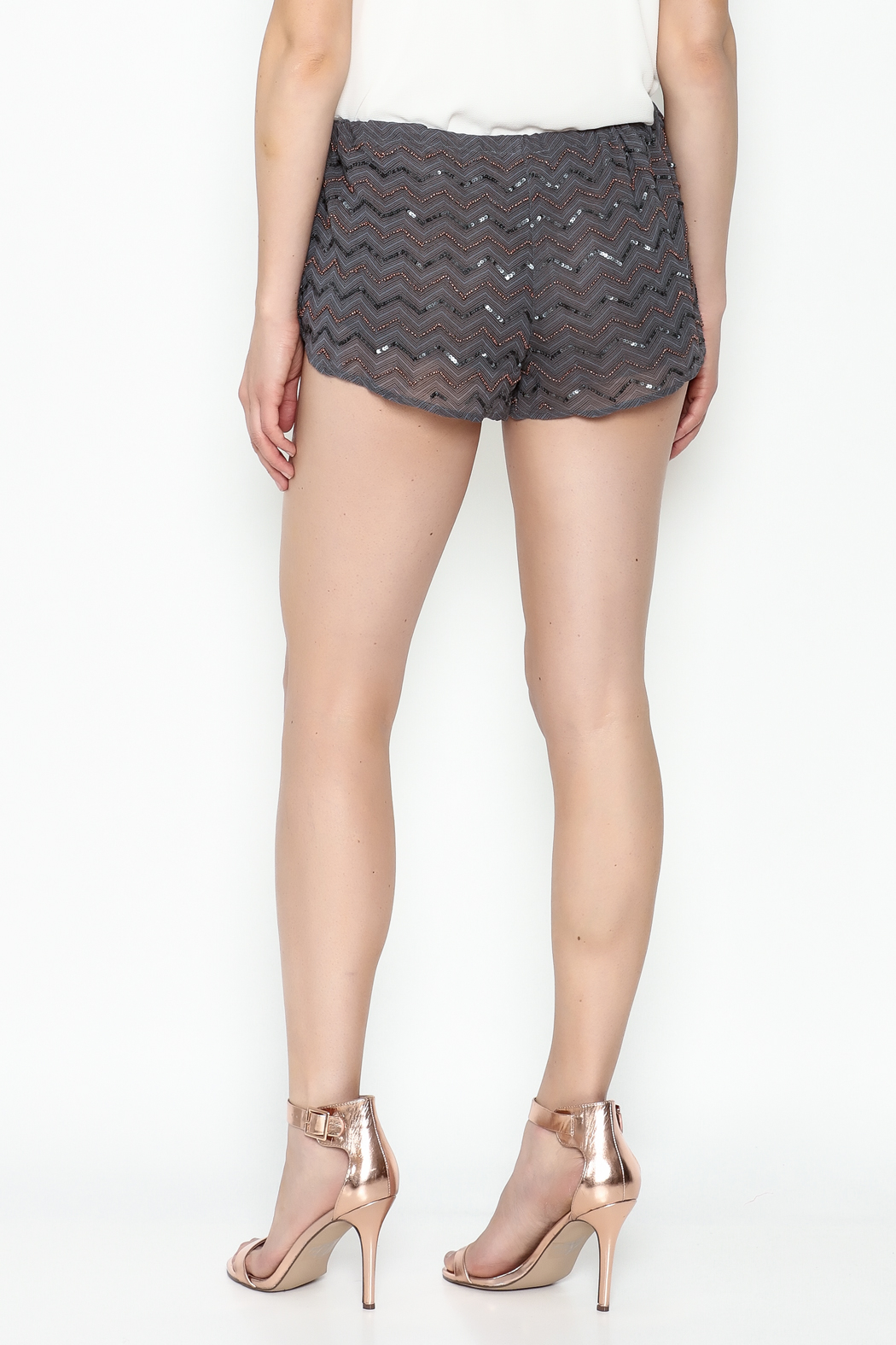Chaser Beaded Shorts - Back Cropped Image