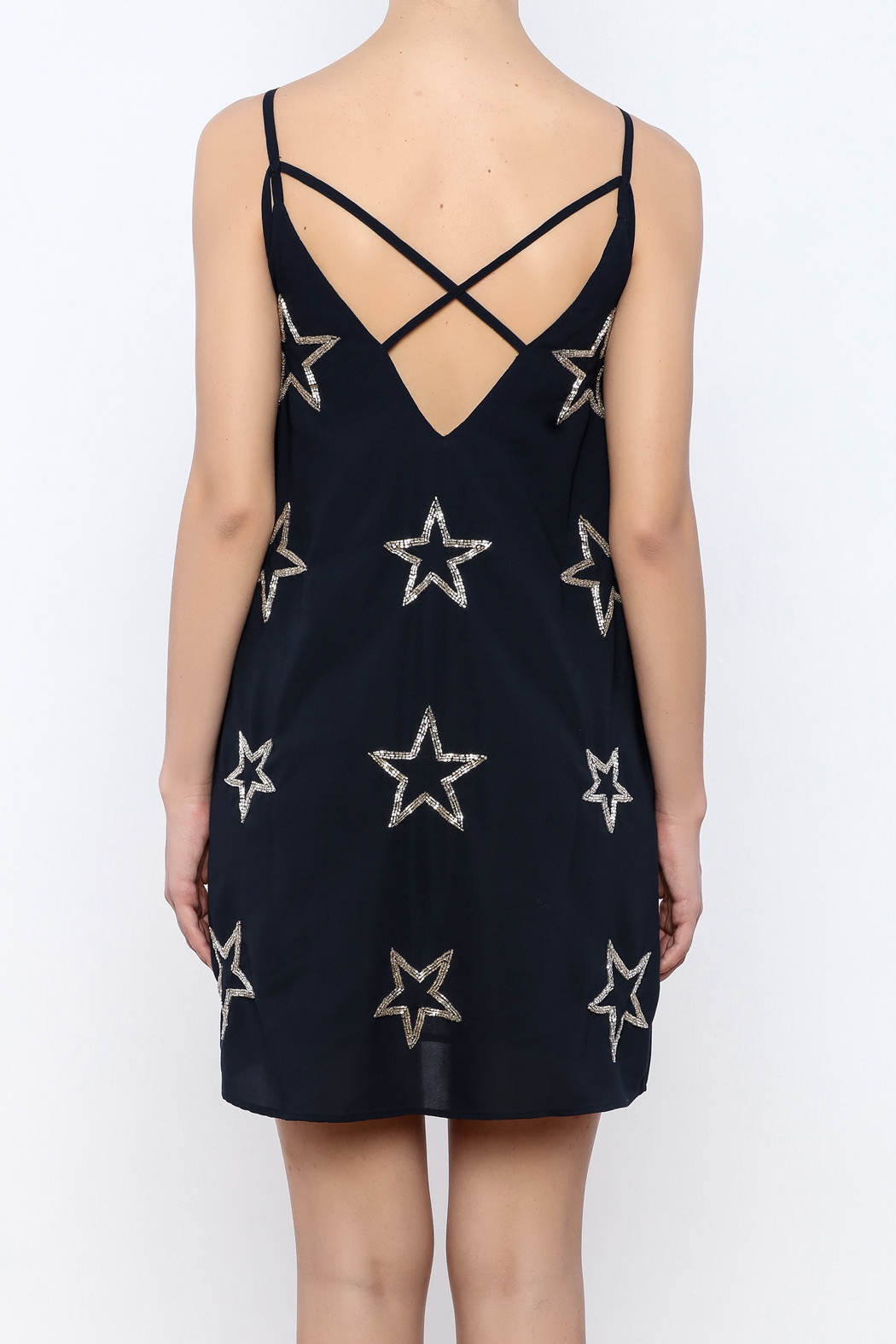 Chaser Beaded Stars Strappy Mini Dress - Back Cropped Image