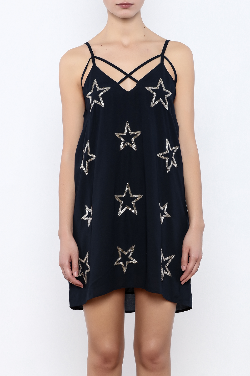 Chaser Beaded Stars Strappy Mini Dress - Side Cropped Image