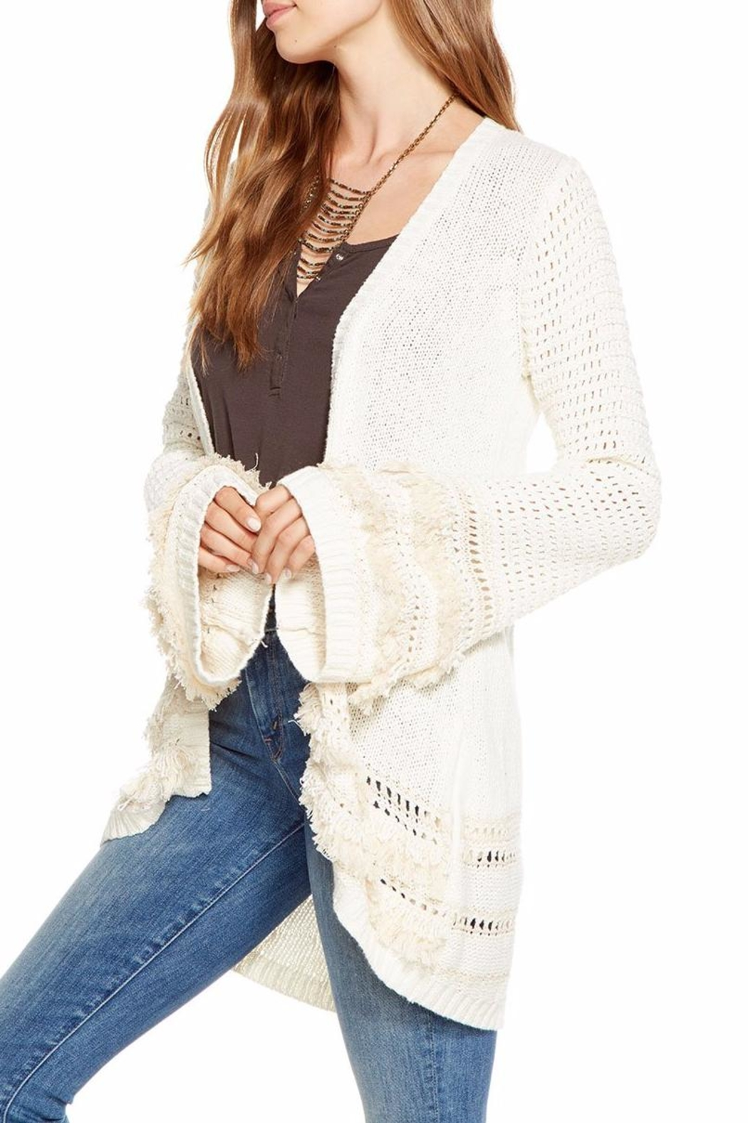 Chaser Bell-Sleeve Open Cardigan - Front Full Image