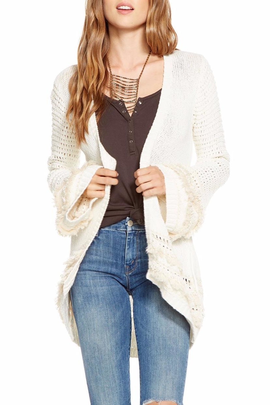 Chaser Bell-Sleeve Open Cardigan - Main Image