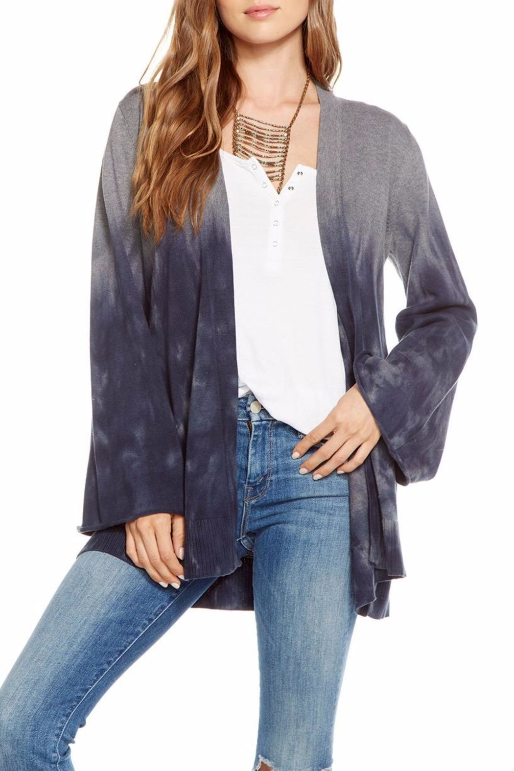 Chaser Bell-Sleeve Open Cardigan - Back Cropped Image
