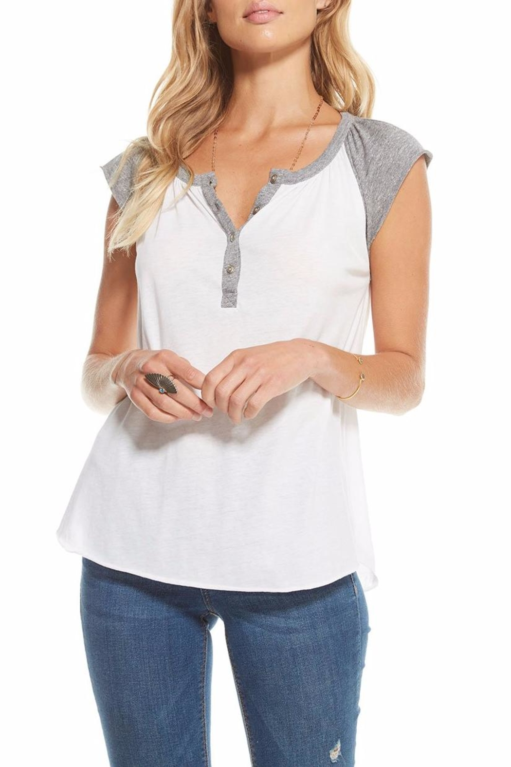 Chaser Blocked Cap-Sleeve Henley - Side Cropped Image