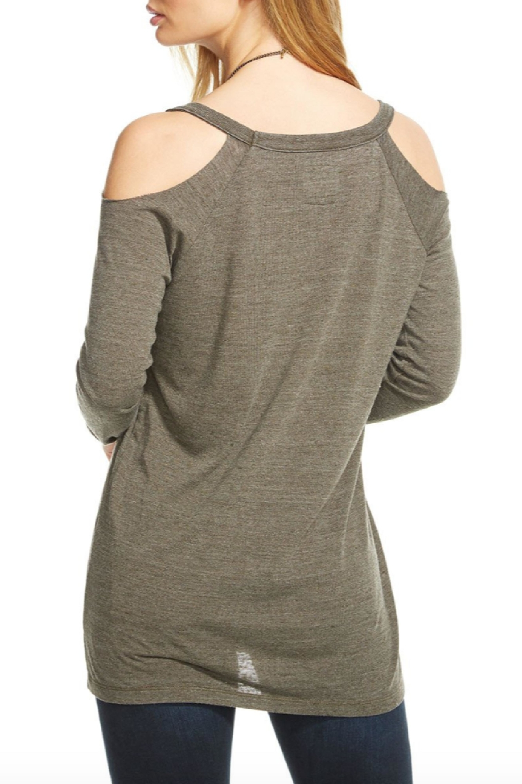Chaser Cold Shoulder Raglan V Neck - Front Full Image