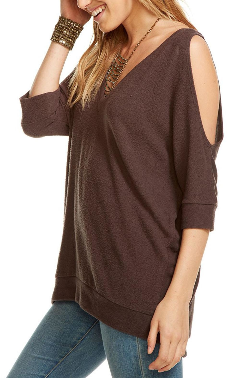 Chaser Cold Shoulder Sweater - Front Full Image