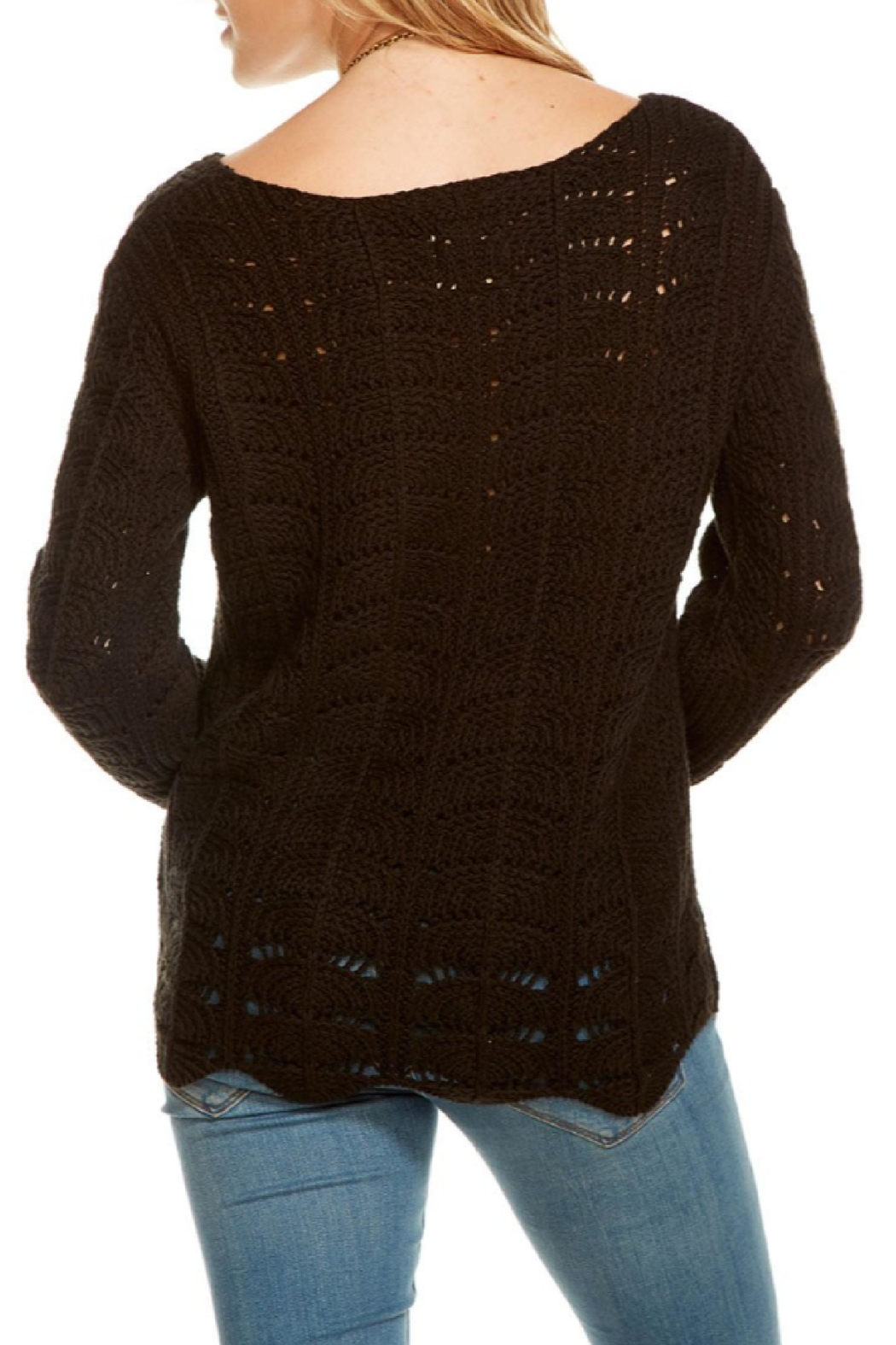Chaser Crochet Scallop Sweater - Front Full Image