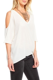 Chaser White Cold Shoulder Top - Front full body