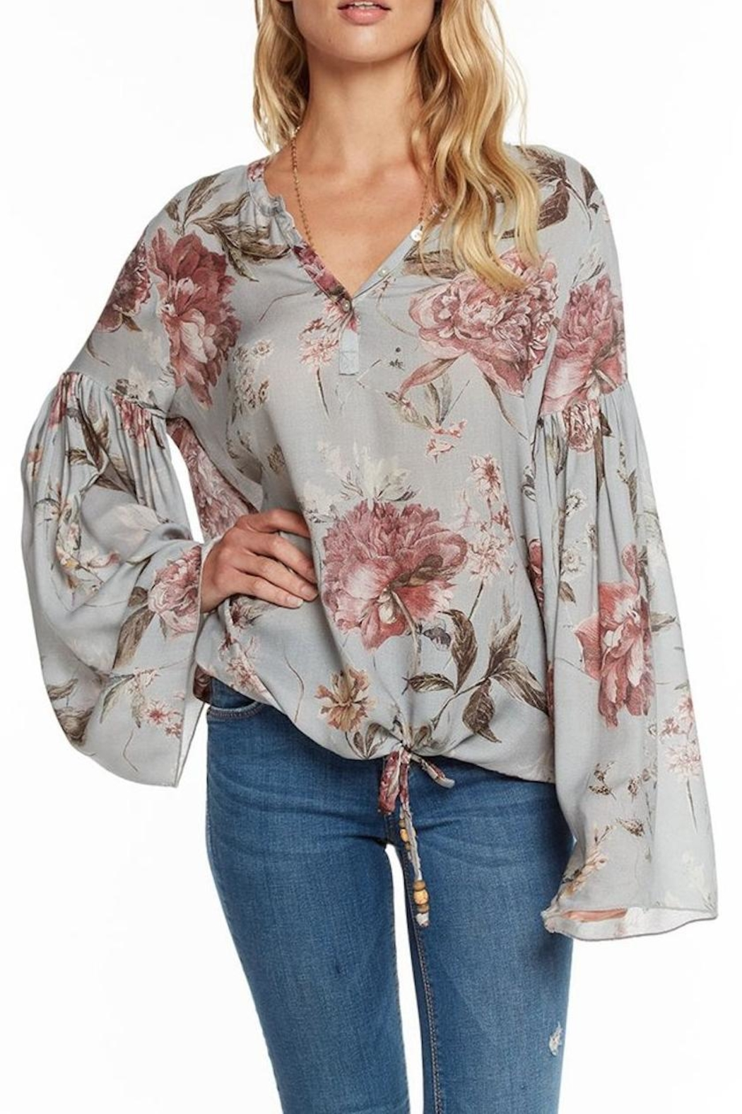 Chaser Floral Peplum Henley - Main Image