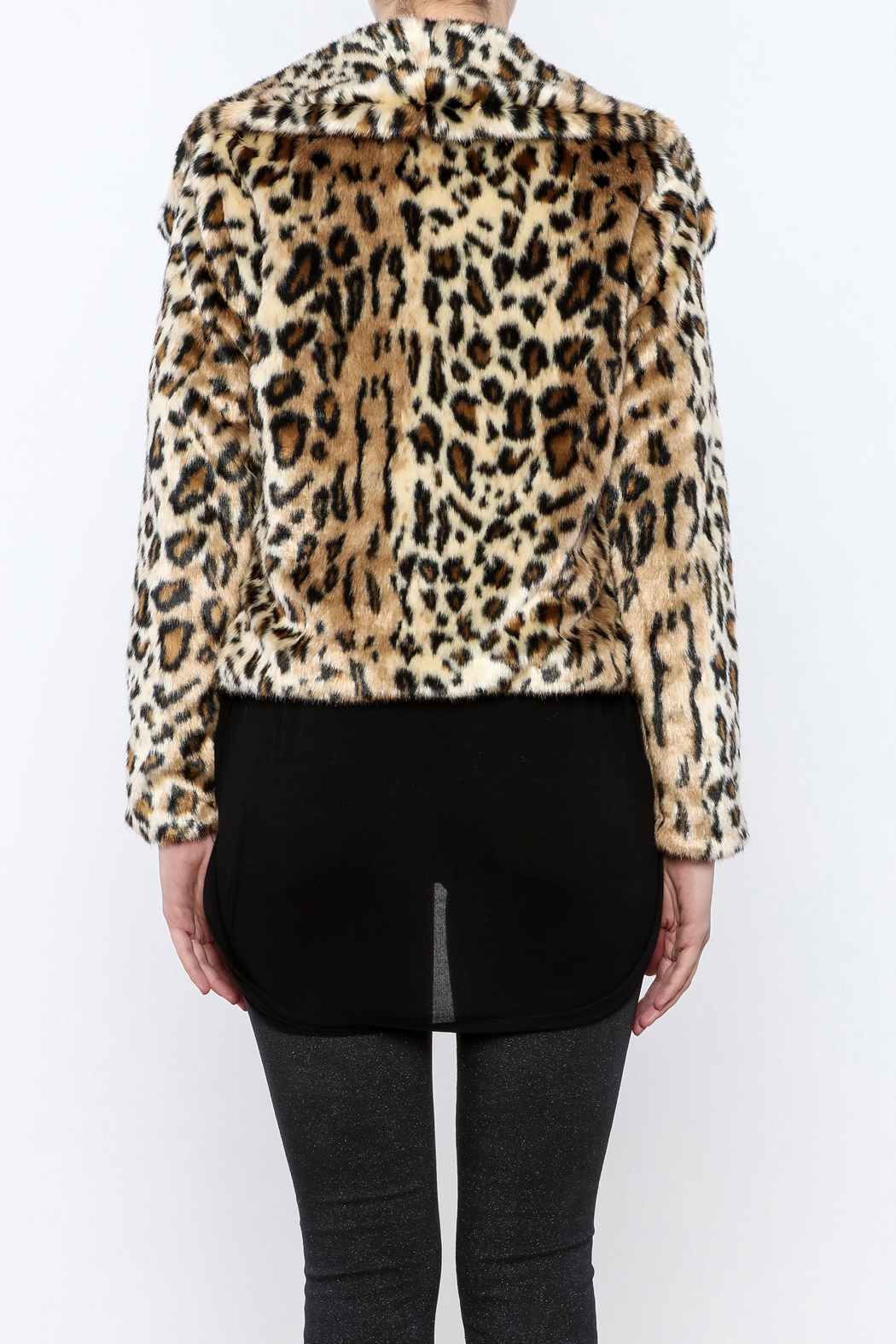 Chaser Furry Cheetah Coat - Back Cropped Image