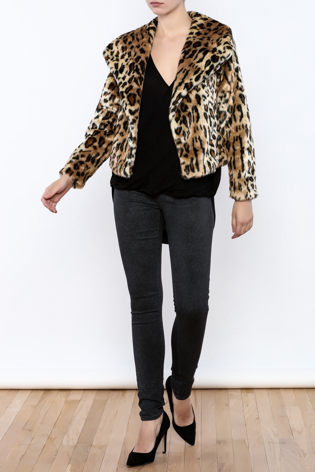 Chaser Furry Cheetah Coat - Front Full Image