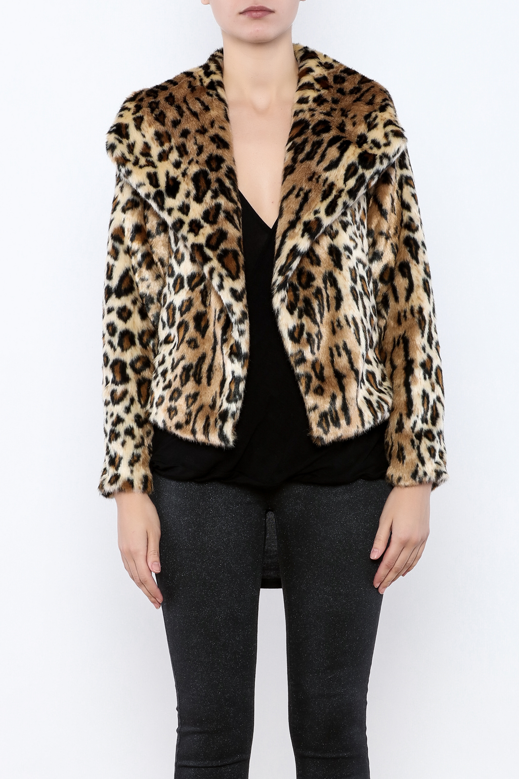 Chaser Furry Cheetah Coat - Side Cropped Image