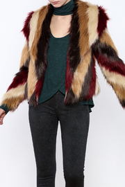 Chaser Furry Chevron Coat - Front cropped